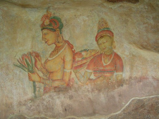 Wall frescoes at Sigiriya in Sri Lanka
